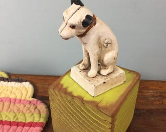 Nipper RCA Cast Iron Dog Bank, Jack Russel Terrier Dog Bank, Vintage Paperweight, Retro Doorstop, Dog Statue Figurine,  Cast Iron Bank