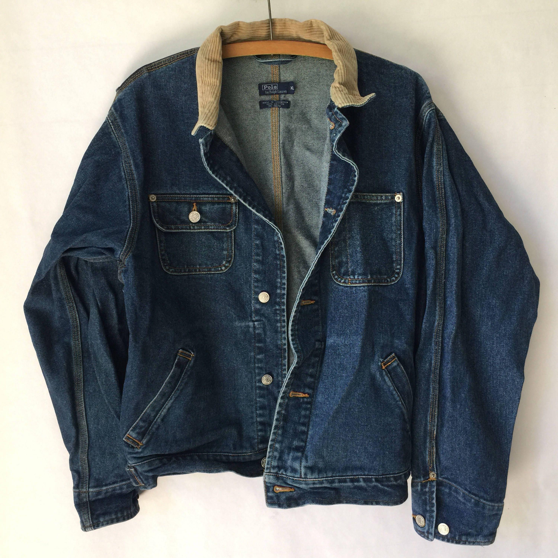 Ralph Lauren POLO Denim Trucker Jacket - Polo Denim Jacket- Medium Wash Moto Jacket - Street Wear - Hip Hop - Extra Large LEziJ