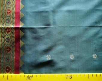 Pure silk embroidered Indian Sari 110 cm x 70 cm