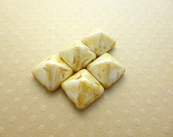 Set of 5 Pyramid beads (beadstud) 2 hole Alabaster PB12 0529 12x12mm