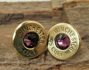 Winchester Casing Earrings  - Stud Earrings - Ultra Thin - Winchester Colt 45 - Amethyst