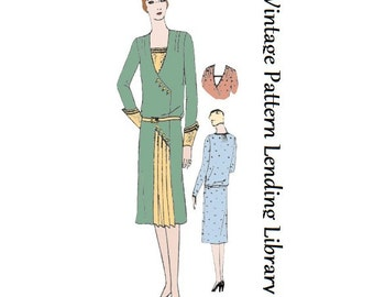 1929 Ladies Frock with Pleated Inset - Reproduction Sewing Pattern #Z2830