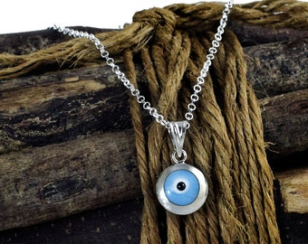 Evil Eye Necklace, Sterling Silver Blue Ciel Eye Pendant Necklace, Eye Jewelry, Good Luck Charm Necklace,