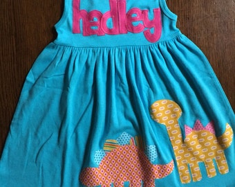 Dinosaur Dress, Dinosaur Birthday Dress for Girls, Dinosaur Birthday Outfit, You Choose Sleeve Length and Color