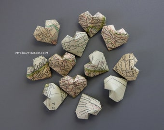 12 texture Italy map balloon hearts | origami heart favors || map theme wedding || gifts for map lovers -Italy