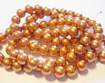 50 Golden ocher glass Pearl 10 mm beads