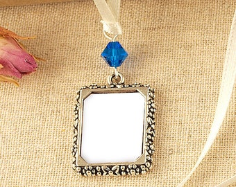 Bridal Photo Frame Bouquet Charm | Capri Blue Picture Frame Charm  | Wedding Photo Charm | Gift For The Bride | Wedding Keepsake | Memorial