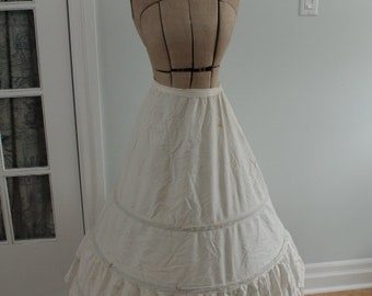 1950's Crinoline Hoop Skirt with Eyelet Lace Trim