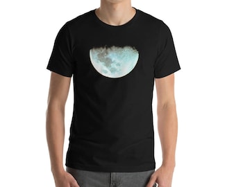 Moon T-Shirt, Moon tee, Moon Shirt,  Mens classic dark shirt, Space tshirt, Mens Space shirt