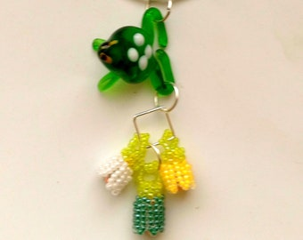 Beadwoven Frog Floral Pendant, Glass Lampwork Cute Green Tree Frog, Vintage Glass Frog - Green & Yellow Flowers Necklace by enchantedbeads