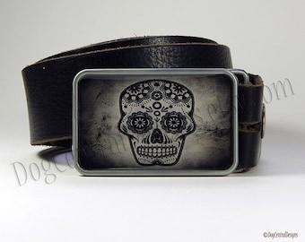 Belt Buckle Black and Grey Sugar Skull Belt Buckle  Dia de los Muertos Day of the Dead Choice of Buckle Finish