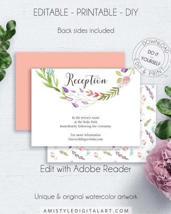 Floral wreath diy reception cards wedding customize boho solutioingenieria Gallery
