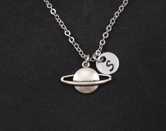 planet saturn necklace, sterling silver filled, initial necklace, silver planet charm on silver chain, space galaxy charm, planet, birthday