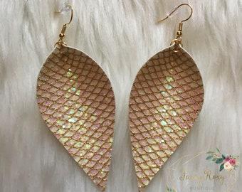 Opal Glitter and Gold Lattice Earrings