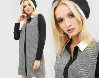 Dress with long sleeves Straight dress Gray office dress Work dress Knee length dress Secretary dress Day dress/ office dress jill