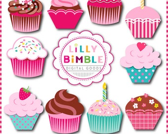 SWEET CUPCAKES clipart for invitations, birthdays, scrapbooking cupcake clip art Instant Download