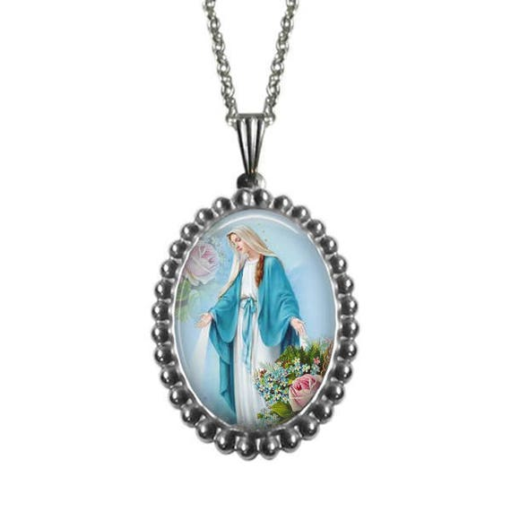 Our Lady of Grace Stainless Steel Pendant, with 18 or 24 inch stainless steel chain - Virgin Mary Necklace Collection - Catholic Gift