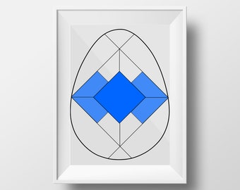 Geometric Easter Egg Stained Glass Pattern