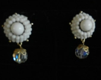 Coro Vintage White Bead and Crystal Dangle Clip On Earrings