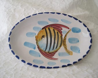 Vietri Platter Angelfish Hand Painted Italy Colorful Fish Platter Italian Pottery