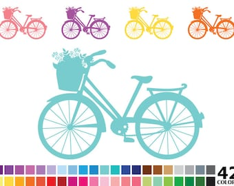 Rainbow Bicycle Clipart - Digital Vector Colorful Bicycle, Cycle, Bike Clip Art