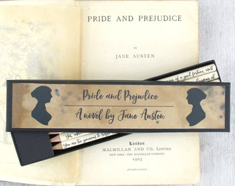 Pride and Prejudice pencils - Jane Austen gifts - Mr Darcy Quote - Elizabeth Bennet - Book Lover Gifts - Book Quote Pencils - Bookworm Gift