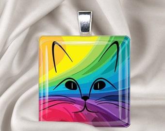 Rainbow Cat - Glass Tile Pendant Necklace