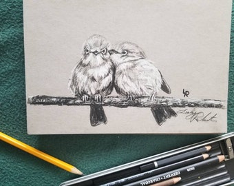 "Original Bird Charcoal Drawing 5.5""x8.5"" Love birds /branch/nature"