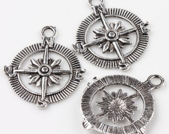 10 Antique Silver Compass Charms Pendants 29x24mm - BC201