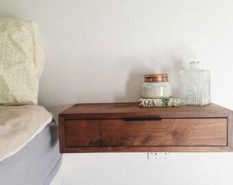 Modern Walnut Floating Nightstand w/ Metal Hinge Drawer