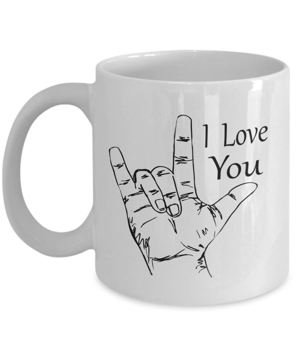 American sign language text i love you coffee mug asl gift description white ceramic coffee mug with i love you in both text and asl american biocorpaavc Image collections