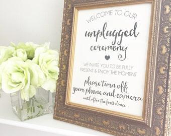Unplugged Ceremony Sign   Unplugged Wedding   Wedding Hashtag Sign