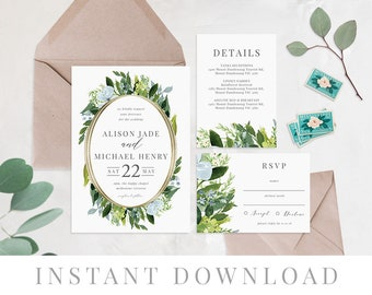 Greenery Printable Wedding Invitation INSTANT DOWNLOAD, Printable Wedding Invite, DIY Printable Invite, Templett, Editable, pdf, Petra