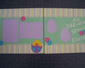 Scraps by TJ Premade  12x12 Easter scrapbook page layout An Egg-stra Special Easter