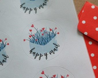 "Envelope ""Happy Mail"" - 24 round mailing labels"