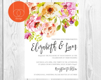 Hand painted watercolour floral wedding invitations