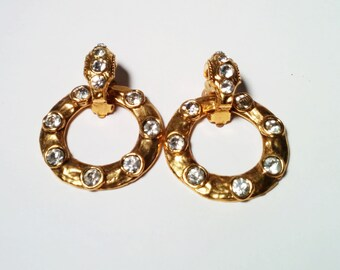 Vintage Chanel Rhinestone and Gold tone Hoop earrings with detachable Semi Hoop as clip on