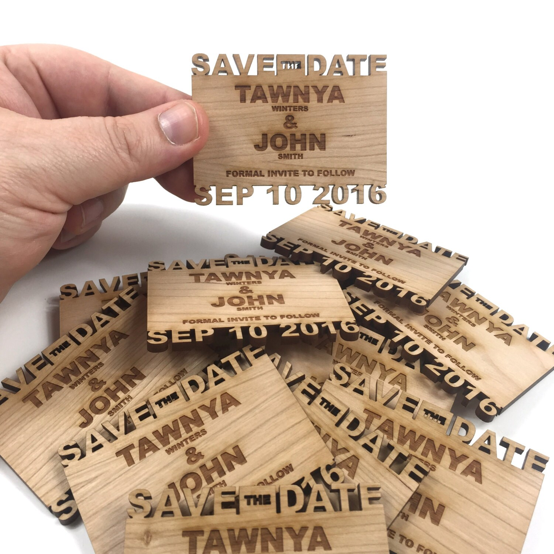 Custom Save the Date Cutout name wood Fridge Magnets 2 inch x 3 inch ...