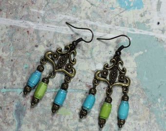 Dangle Earrings-Recycled Paper Earrings-Lime and Blue Earrings