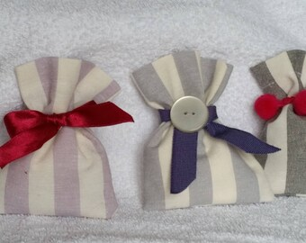 Handmade favor bags in 3 different models