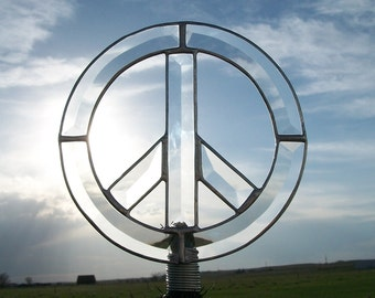 Peace Sign Christmas Tree Topper, Clear Beveled Glass Peace Decoration, Unique Tree Topper, Peace Symbol Silver