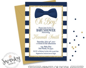 Blue and gray baby shower invitations its a boy blue oh boy baby shower invitation bowtie baby boy shower navy and gold invitation filmwisefo Choice Image
