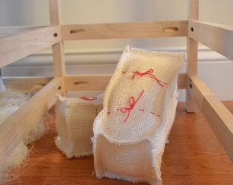 18in Doll sized burlap hay bales (Set of 3)