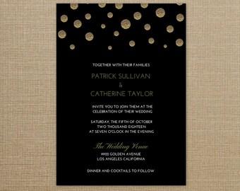 Wedding Invitation Black and Gold, Wedding Invitation Gold, Wedding Invitation Printable, Wedding Invitation Gold