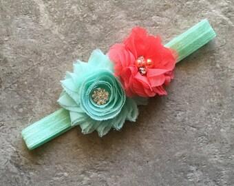 Mint coral headband, Baby Hair Bow, flower headband, baby headbands, shabby chic roses, baby girl headband, hair bow