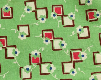 1930s  Vintage cotton feedsack type fabric 1940s material tiny green pink grid  flower pattern 1950 1960  dress