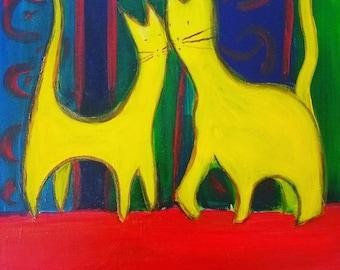 Cat lovers, original acrylic painting 16x20