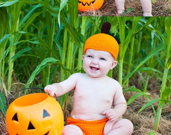PDF Instant Download Halloween Pumpkin Baby Hat and Diaper Cover Crochet PATTERN