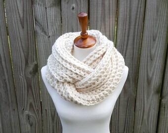 Chunky Infinity Scarf, Knit Infinity scarf, Crochet Infinity Scarf, Cowl, The Glacier Bay Scarf - in Fisherman