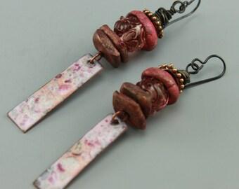 Boho Earrings, Rustic Earrings, Rustic Boho Earrings, Rustic Pink Earrings, Hippie Earrings, Earthy Earrings, ChrisKaitlynJewelry, #611-114